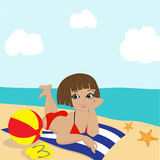 Girl on the beachseaside vacation, concept Stock Photography