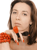 Girl in a beads Royalty Free Stock Images