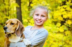Girl with beagle Stock Photo