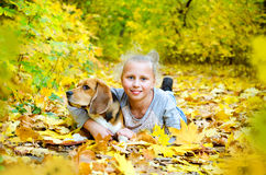 Girl with beagle Royalty Free Stock Photo