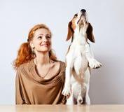 Girl  and  beagle Stock Photo