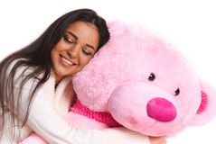 Girl with bear Royalty Free Stock Images