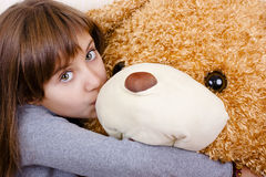 Girl with bear Stock Photography