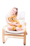 Girl with bear Stock Photos