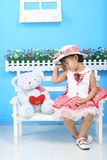 Girl and bear Royalty Free Stock Photos