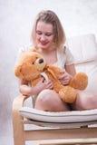 Girl with bear Royalty Free Stock Photos