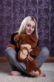 Girl and bear Royalty Free Stock Photo