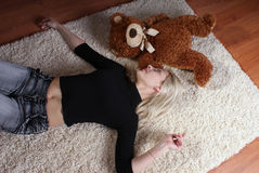 Girl with bear 2 Stock Image