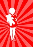 Girl with a bear. White silhouette of the girl with a bear on a red striped background Stock Photo