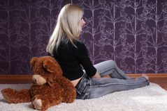 Girl with bear Stock Photo