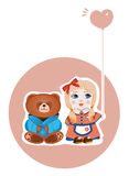 Girl and bear Royalty Free Stock Image