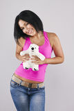 The girl with the bear. Royalty Free Stock Photo