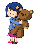 Girl With Bear Doll. Ustrator design .eps 10 Royalty Free Stock Photos