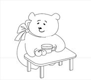 Girl-bear with peaches, contours. Teddy-bear girl-bear sits at a table, eats peaches and drinks juice, contours Stock Photos
