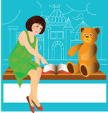 Girl and bear Royalty Free Stock Image