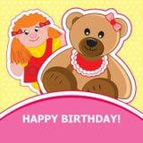 Girl and bear. Vector illustration. Teddy bear and a girl on a yellow background. Vector illustration Stock Photos