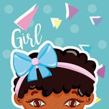 Girl beatiful face. With confeti over colorful background vector illustration graphic design vector illustration