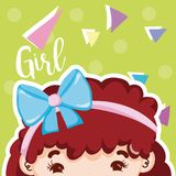 Girl beatiful face. With confeti over colorful background vector illustration graphic design royalty free illustration