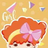 Girl beatiful face. With confeti over colorful background vector illustration graphic design stock illustration