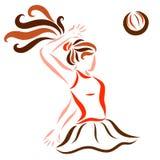The girl beats the ball.  stock illustration