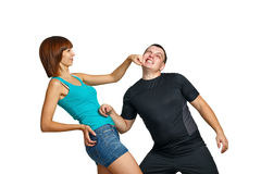 Girl beats her boyfriend Royalty Free Stock Images