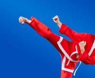 Girl beats a high kick leg Royalty Free Stock Images