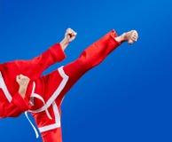 Girl beats a high kick leg Stock Photos