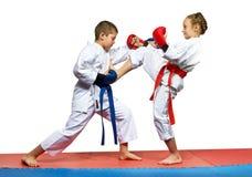 Girl beats mae geri boy beats  kizami Tsuki Royalty Free Stock Image