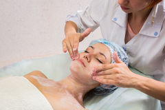 Girl with a beautician at spa salon Royalty Free Stock Photography