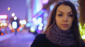 Girl on a beautiful background who seeks. stock footage