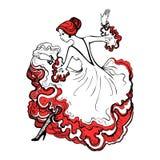 Girl in a beautiful ball gown. Spanish woman dancing flamenco. G Stock Photo