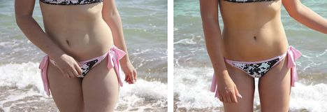 Girl beautiful in a bathing suit body weight thin success before after diet obesity stock photos