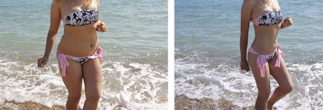 Girl beautiful in a bathing suit weight sea success before and after diet obesity figure stock images