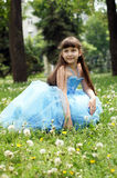 Girl in a beautiful blue dress. The little girl is sitting on the lawn in the park Royalty Free Stock Image