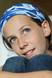 Girl with beautiful blue eyes. Close-up portrait of young girl Royalty Free Stock Photography