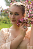 Girl beautiful cheerful enjoying over spring Stock Photography