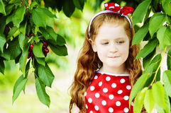 Girl in a beautiful dress in garden. Girl in a beautiful dress in cherry garden Royalty Free Stock Photography