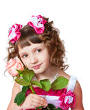 The girl in a beautiful dress with rose Stock Photography
