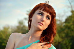 Girl with beautiful eyes. Looking away Stock Images