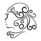 Girl with a beautiful festive hairdo, profile.  Royalty Free Stock Photos