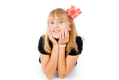 girl with a beautiful flower Stock Photography