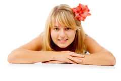 girl with a beautiful flower Stock Photos