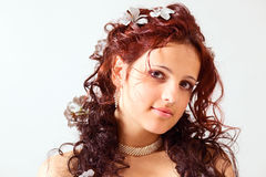 Girl with a beautiful hairdress. Royalty Free Stock Photo