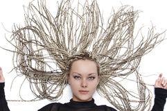 The girl with a beautiful hairdress Stock Images