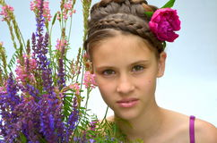 The girl in a beautiful hairstyle Royalty Free Stock Image