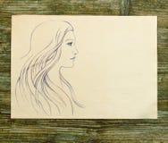 Girl beautiful hand draw sketch Stock Photos