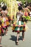 Girl with beautiful handmade accessories on dance costume in Papua New Guinea stock images