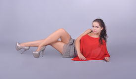 Girl with beautiful legs, fashion Stock Photos