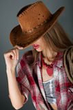 Girl beautiful lips smiling under brown hat Royalty Free Stock Photos