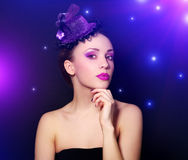 Girl with beautiful make-up. On dark background Royalty Free Stock Photo